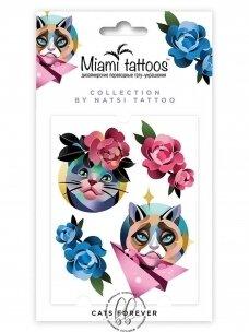 LAIKINA SPALVOTA TATUIRUOTĖ Cats forever by Natsi Tattoo