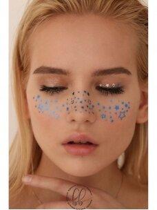 """Laikina tatuiruotė strazdanos """"blue and silver stars"""" (2 klijavimams)"""