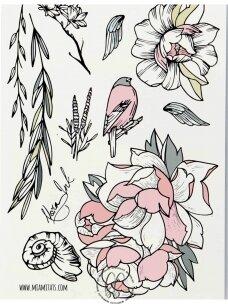 VARDINIŲ LAIKINŲ TATUIRUOČIŲ RINKINYS Garden by Nora Ink